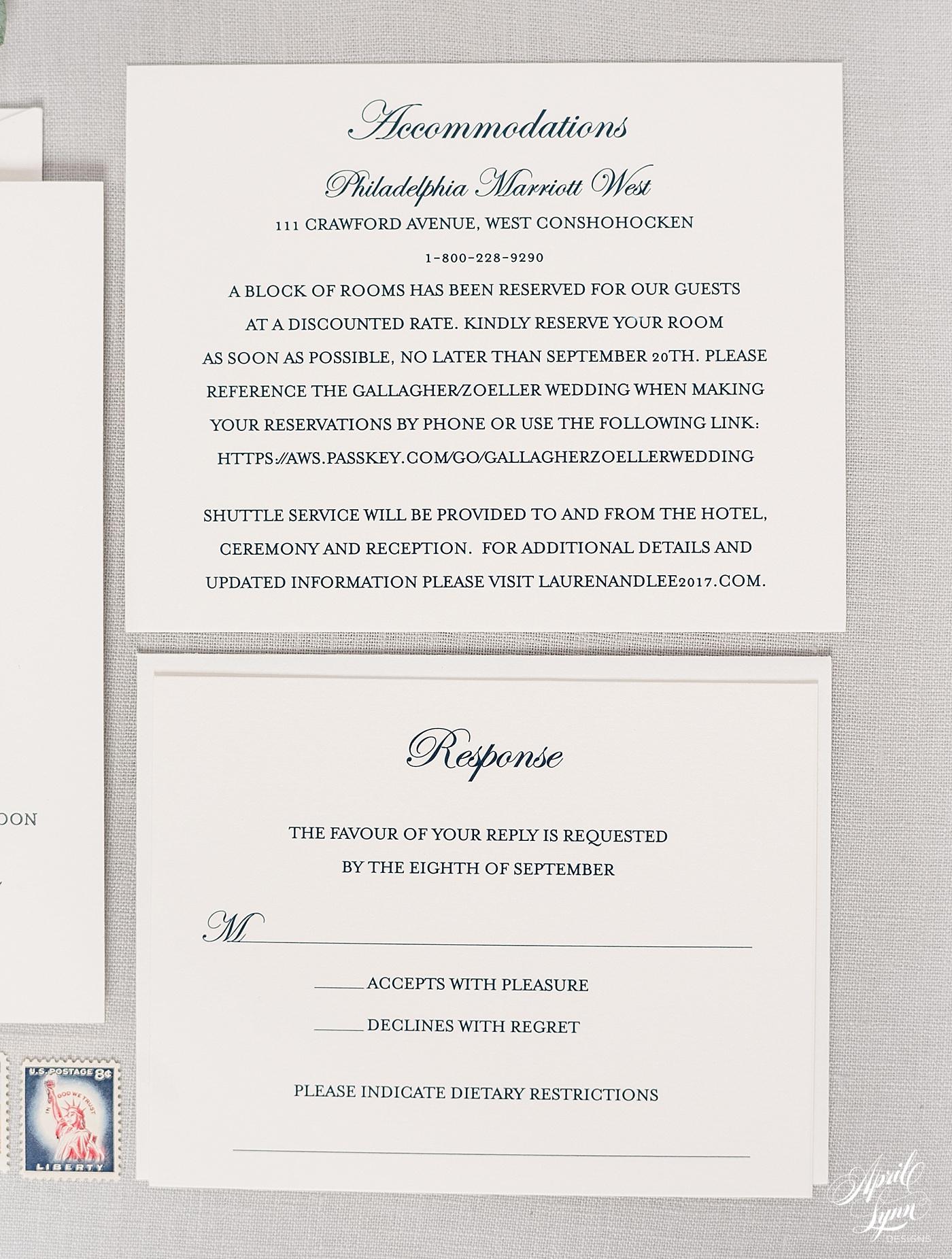 Luxury Gold Foil Villanova Wedding Invitation   www.aprillynndesigns.com