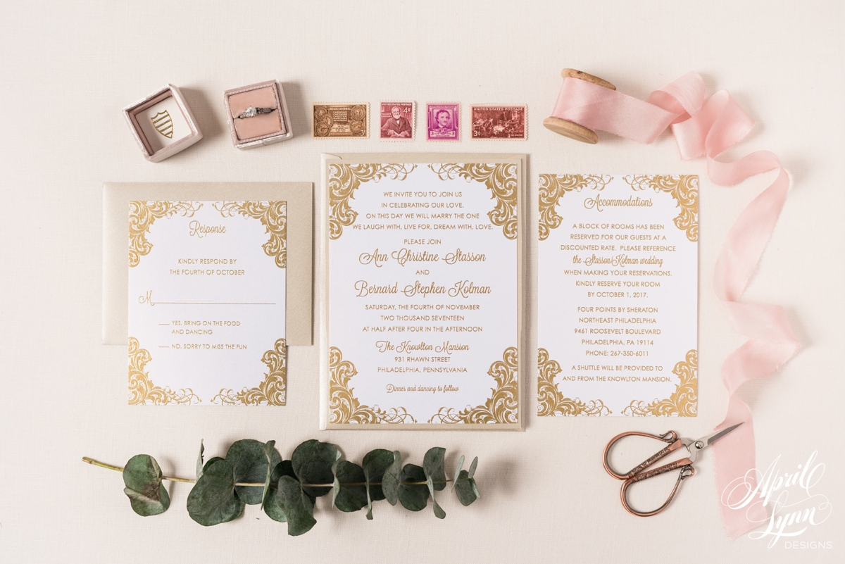 Gold Thermography Philadelphia Wedding Invitation Suite | www.aprillynndesigns.com