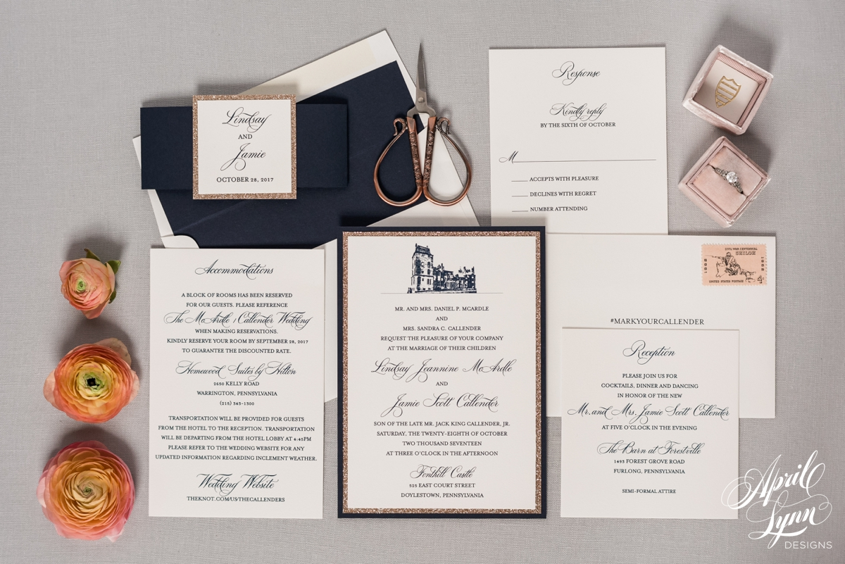 Fonthill Castle Navy and Rose Gold Wedding Invitation Suite | www.aprillynndesigns.com