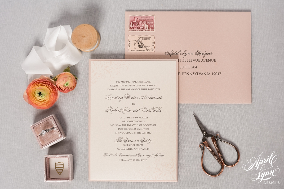 Dusty Rose Flourish Wedding Invitation | www.aprillynndesigns.com