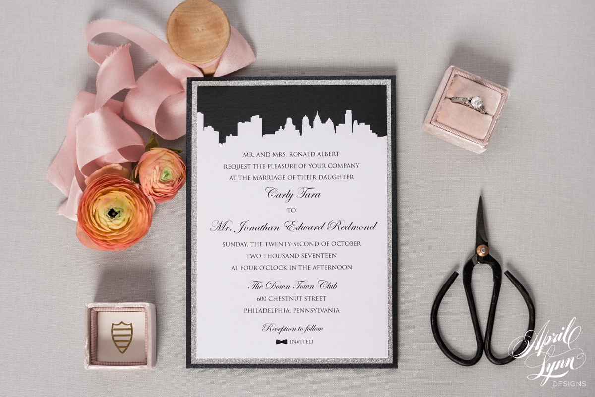 Elegant Philadelphia Themed Wedding Invitation | www.aprillynndesigns.com