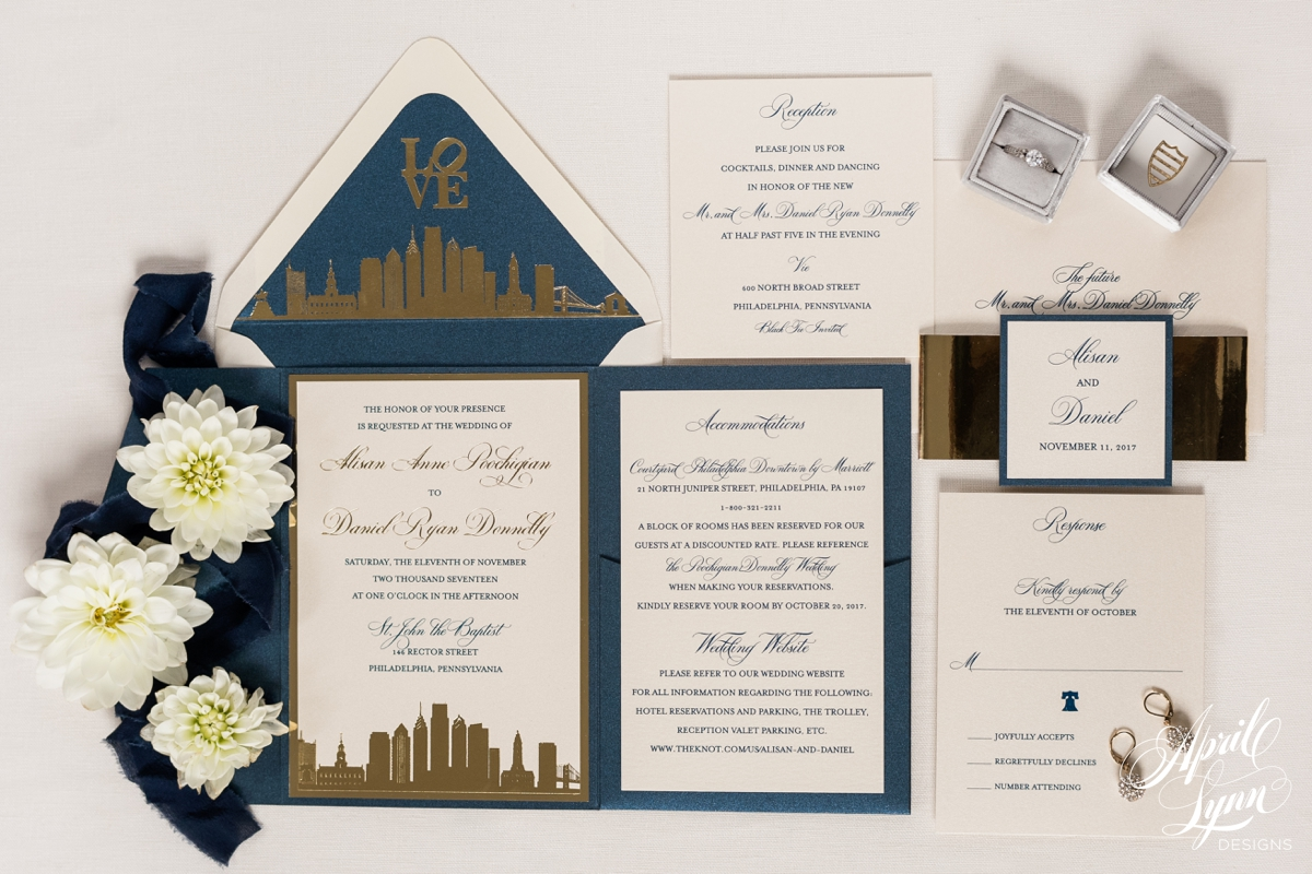Luxury Philadelphia Themed Wedding Invitation Suite | www.aprillynndesigns.com