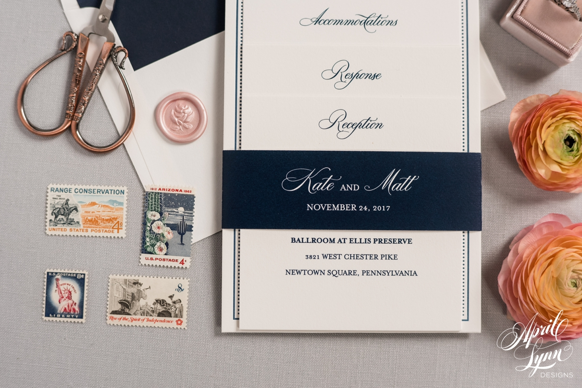 Luxury Navy Letterpress Wedding Invitation Suite | www.aprillynndesigns.com