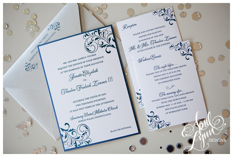 Custom Wedding Invitations Dark Blue Silver Invitation Suite