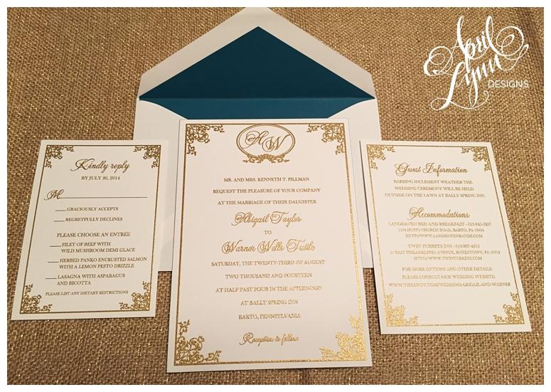 Philadelphia Custom Wedding Invitations Gold Thermography By April Lynn Deisngs