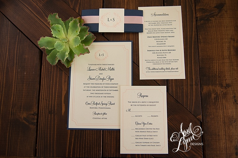Shabby Chic Wedding Invitation Suite Rustic Omni Bedford Springs